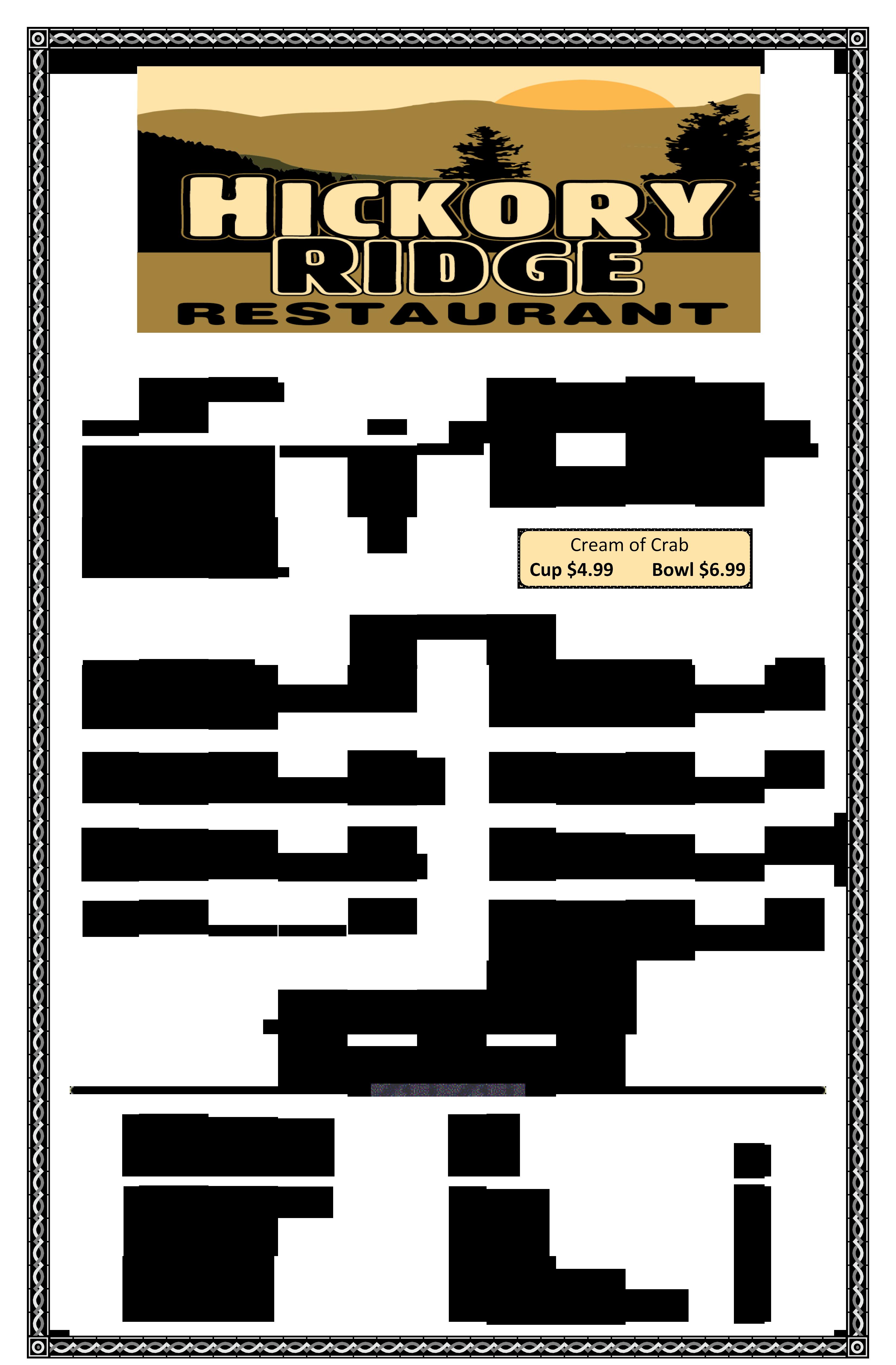 Hickory Ridge Restaurant Menu